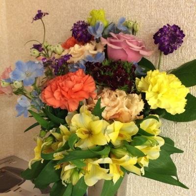 息子と妻からの花束